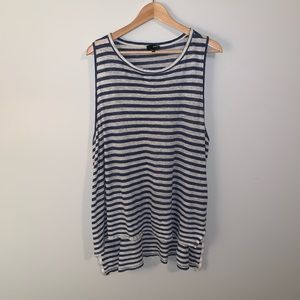 Wilfred Free Linen Blend Striped Split Hem Tank